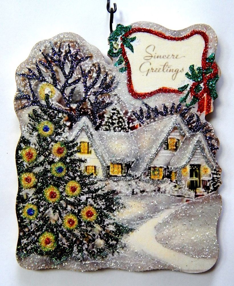 Snowy house tree seasonus greeting glitter christmas ornament