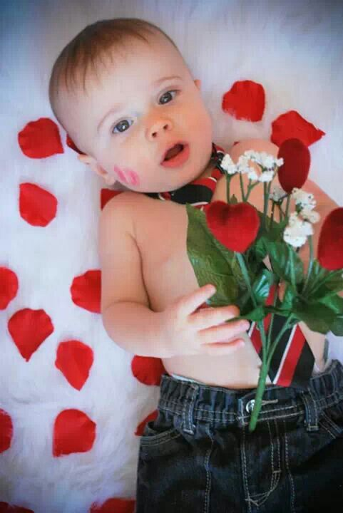 My baby liam who is 8months old and is ready for valentines day photo