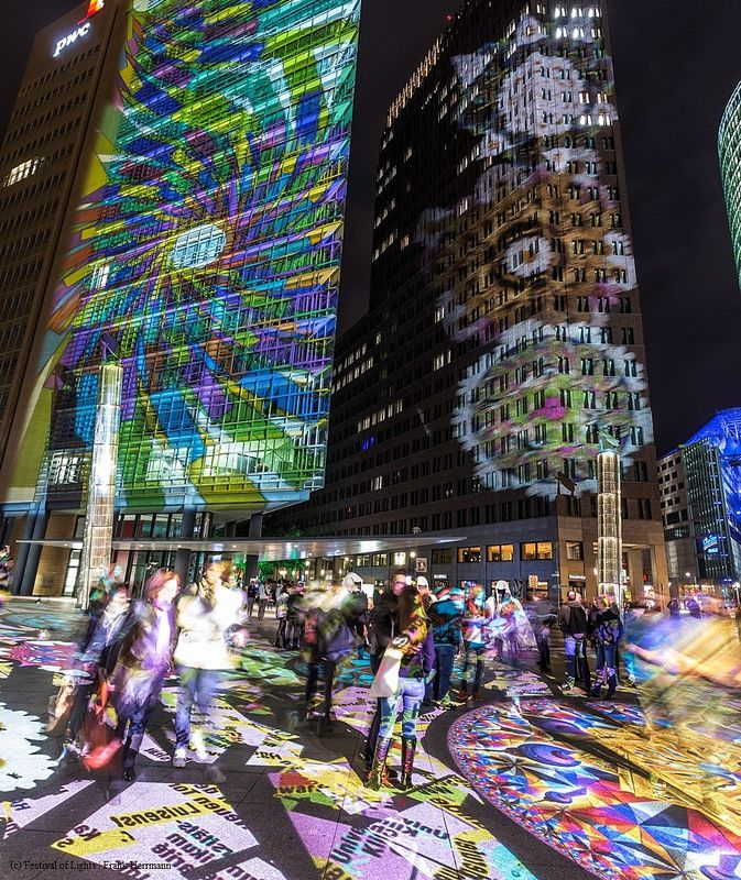 0002 Potsdamer Platz Festival Of Lights 2014 High Rise Building Facade Historical Sites