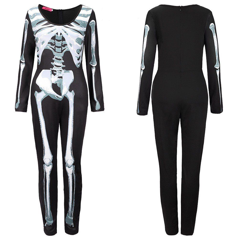 NuoReel Women/'s Print Sleeveless Sugar Skull Adult Halloween Catsuit Costume
