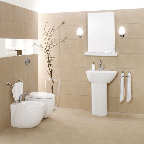 Sanftes Beige Fliesen Helle Farben Optisch Grosser Badezimmer