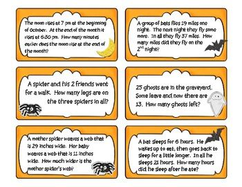 freebie halloween math problem solving task cards pinterest math. Black Bedroom Furniture Sets. Home Design Ideas
