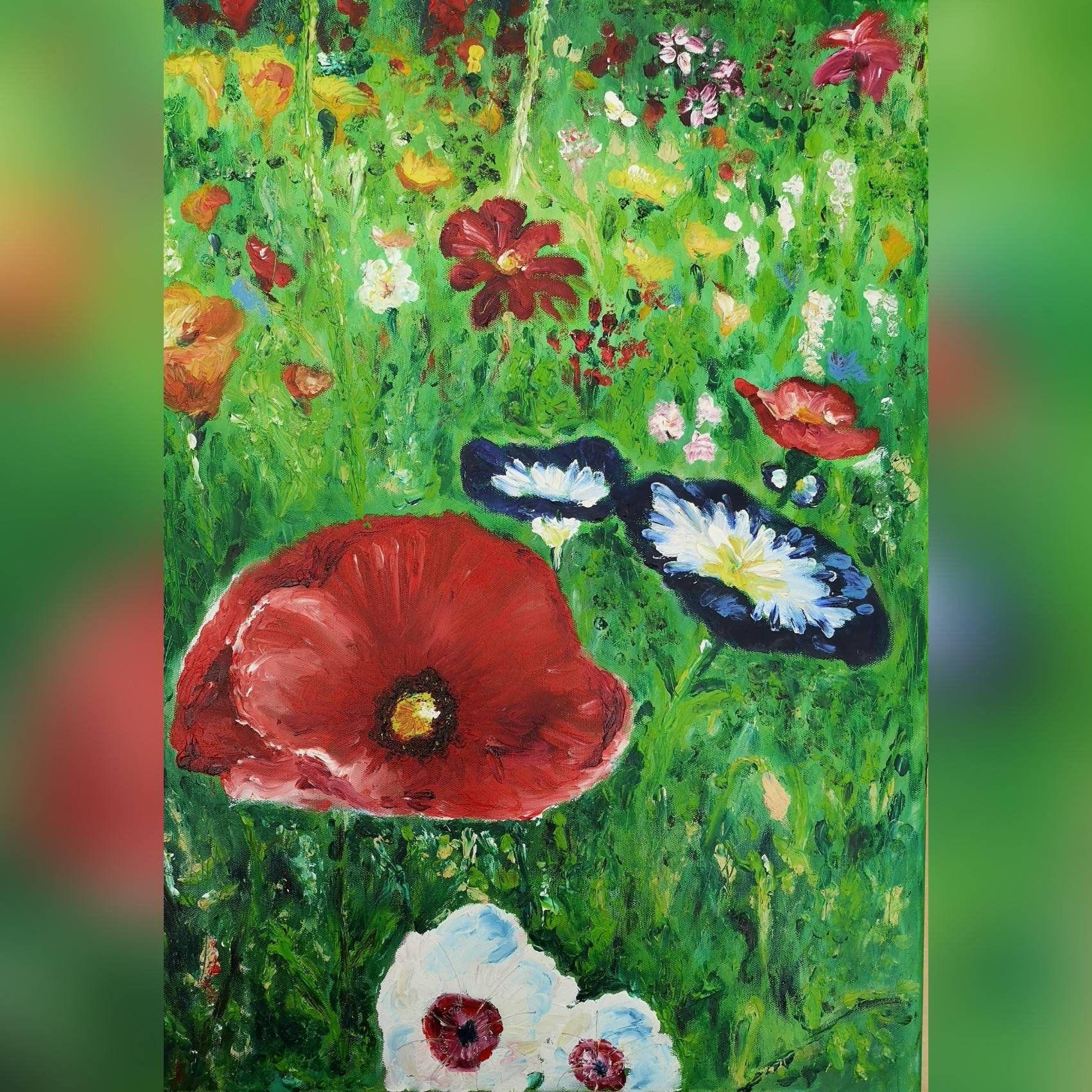 Blumenwiese Im Fruhjahr Fingermalen In Ol Auf 50x70cm Leinwand In