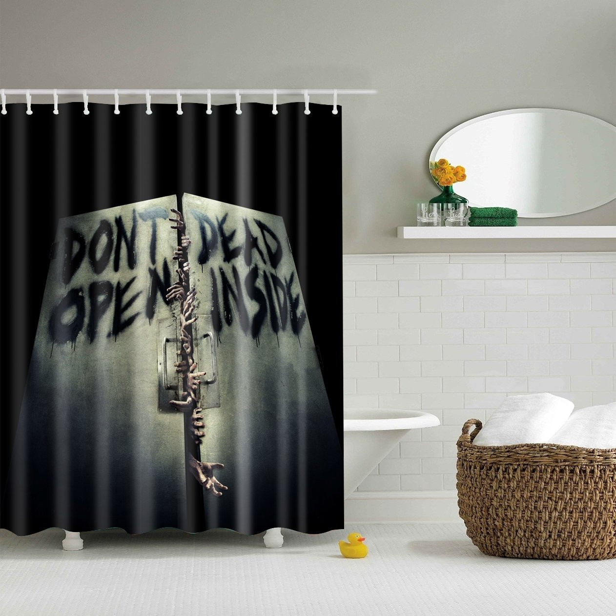 Walking Dead Do Not Open Inside Scary Shower Curtain Bathroom