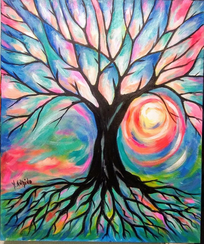 Yvette Andino Art Original Tree Of Life Painting 24x20 Abstract