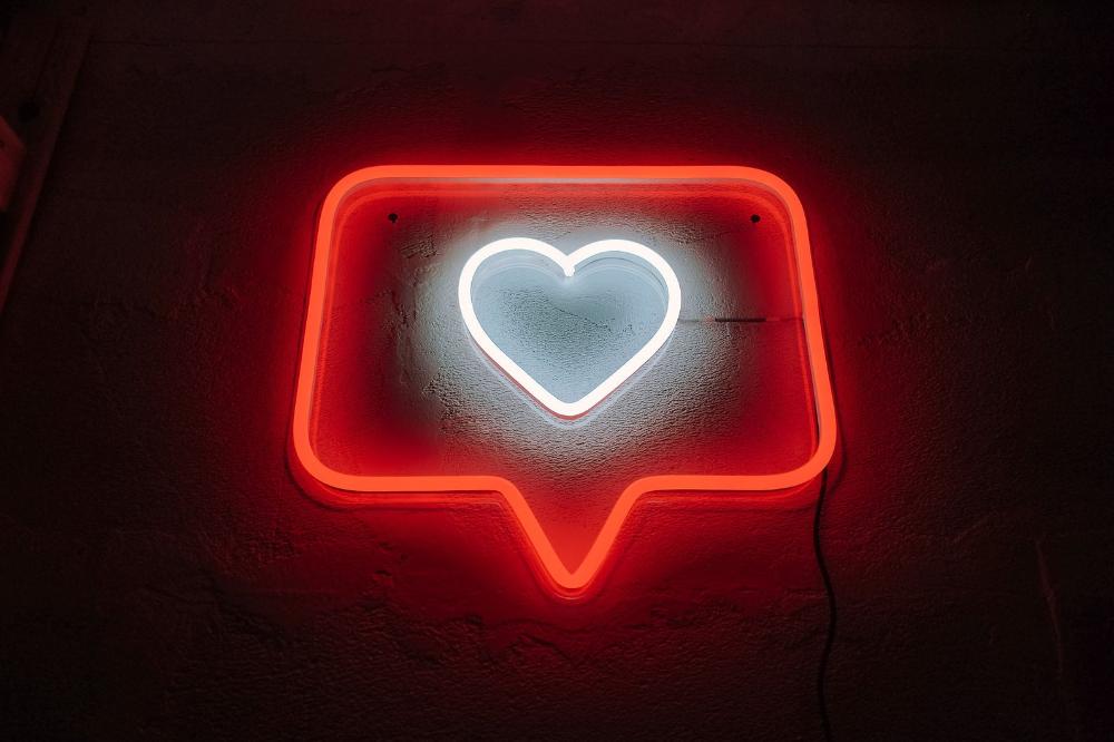 Like Instagram Heart Neon Sign Custom Color Medium Size Instagram Heart Neon Signs Neon