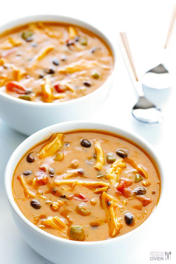 20-Minute Cheesy Chicken Enchilada Soup   gimmesomeoven.com