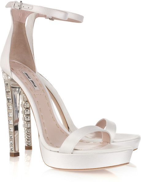 MIU MIU Crystalheel Silksatin Platform Sandals