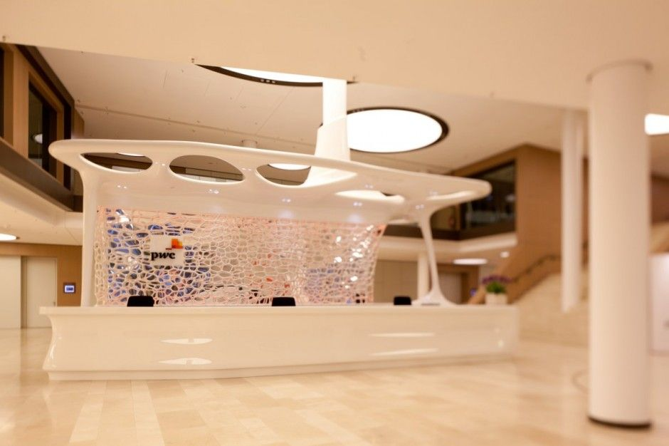 PwC Cafe Reception Desk Design by JOI-Design | Reception desk ...