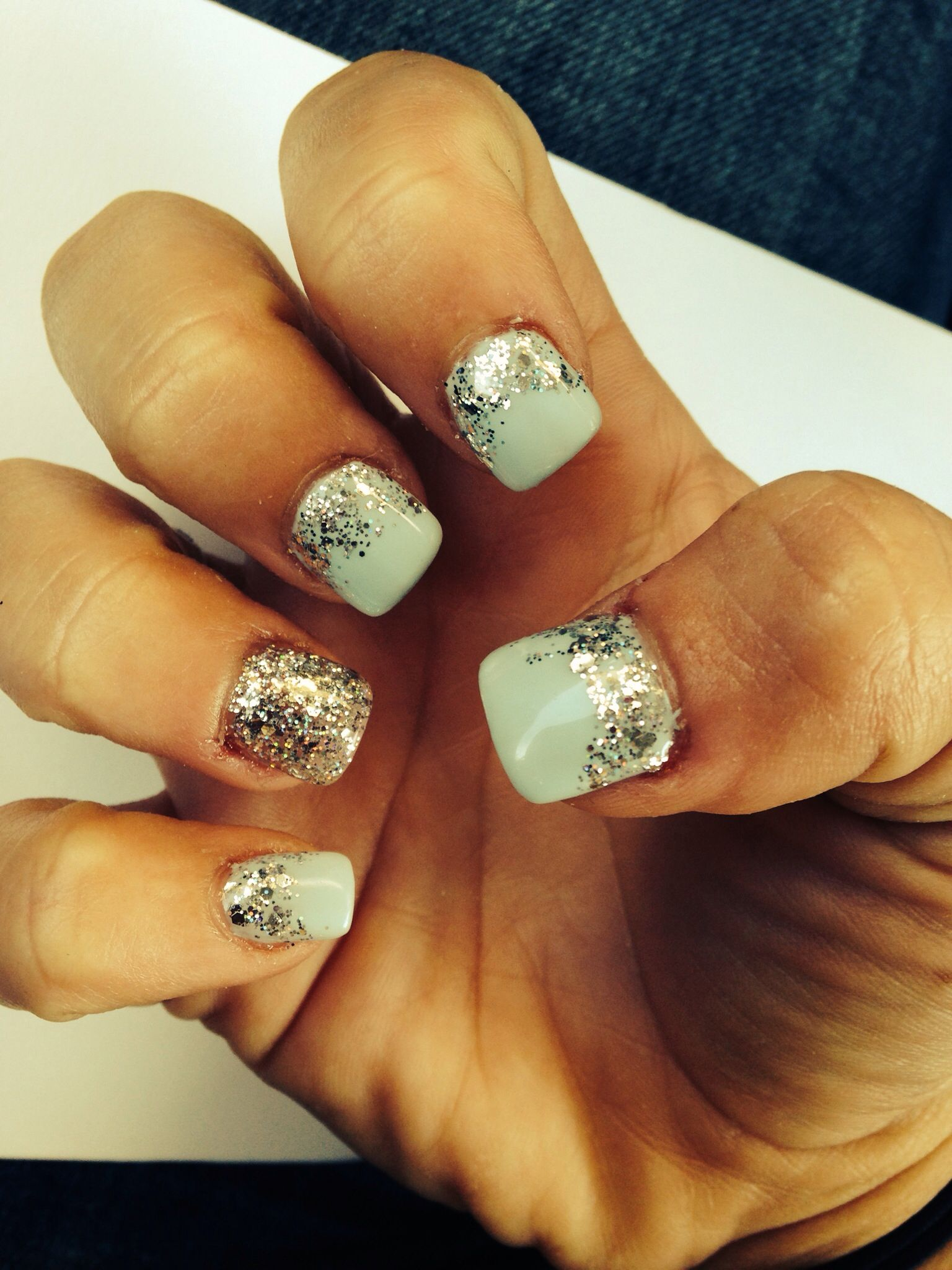 Prom nails! Baby blue with glitter. Love them | Prom nails ...