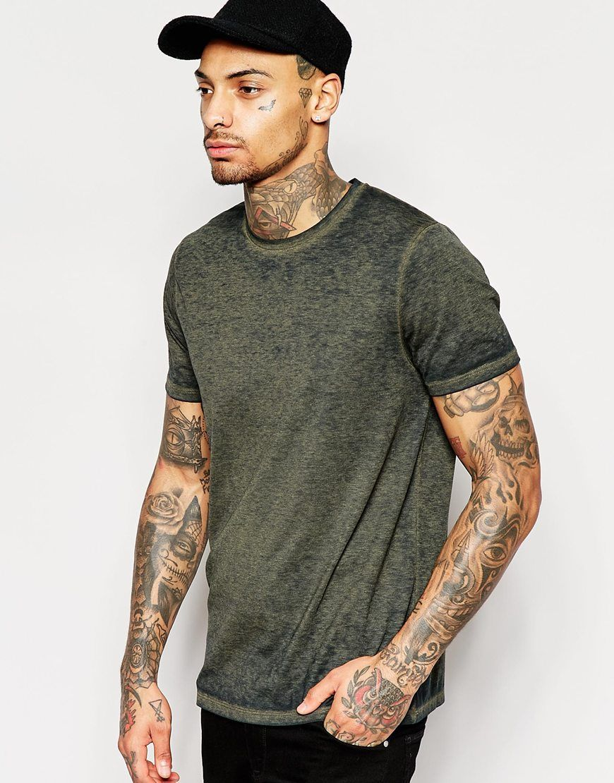 ASOS T-Shirt In Burnout Wash In Green at asos.com