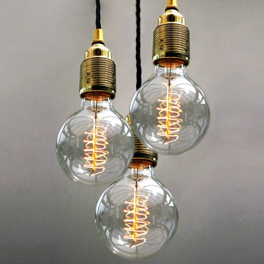 Set Of Three Bulb Pendant Lights Cable Copper And Hand Sewn
