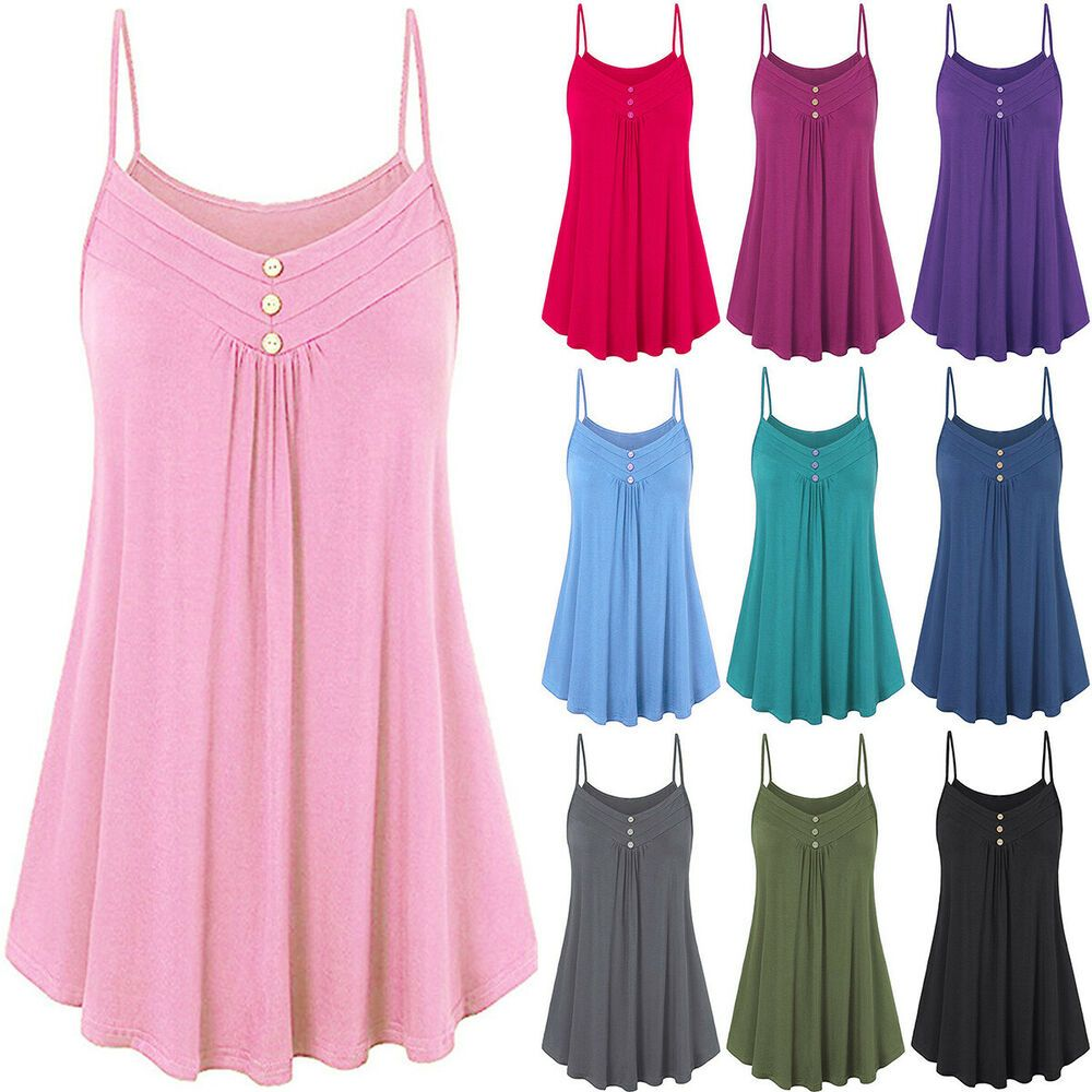 Womens Plus Size Sleeveless Cami Swing Vest Top Flared Skater Tank T-shirt