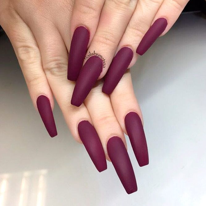 Burgundy Matte Nails To Try This Season Naildesignsjournal Burgundy Matte Nails Matte Nails Design Coffin Nails Matte