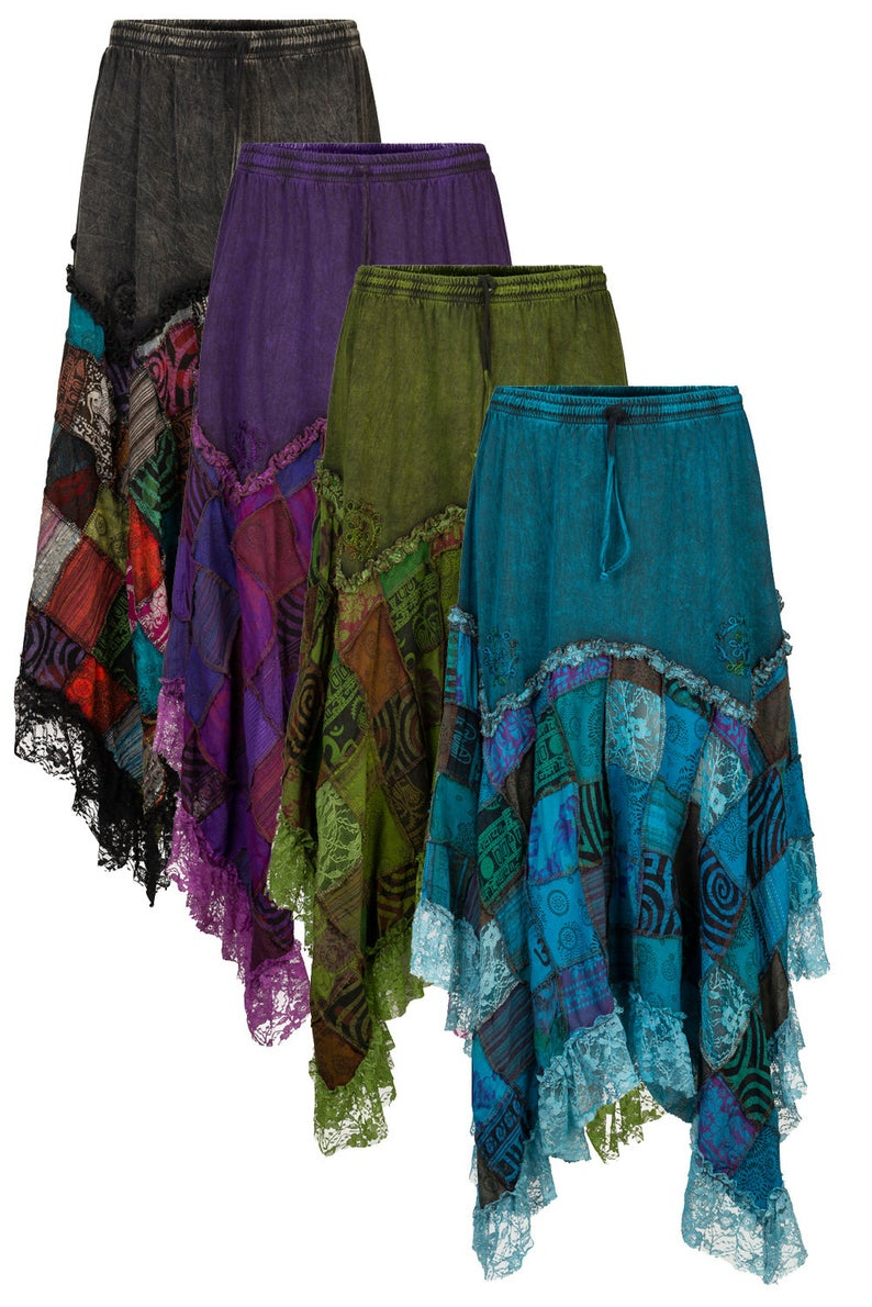 NEW Black Purple Blue Tie Dyed skirt-All sizes Rock Hippy Boho Party Fesitval