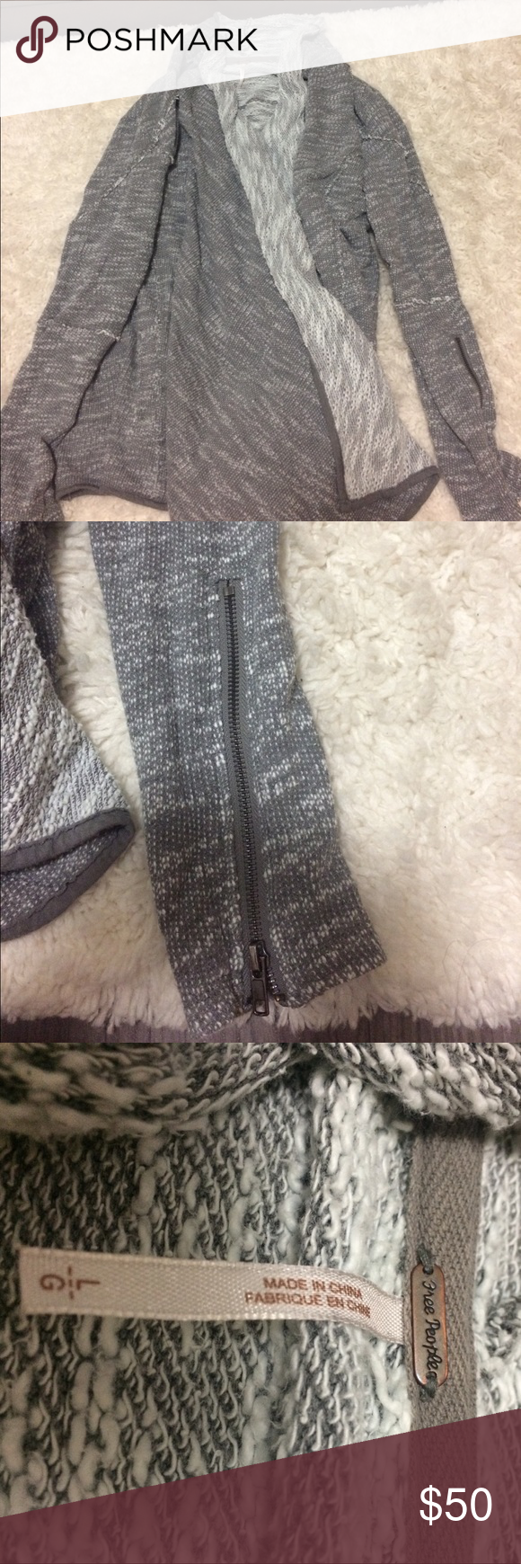 Grey  Free People cardigan Very comfy stylish grey Free People cardigan with zippers at the end of sleeves. Worn a few times in excellent condition. Can be worn with anything. Free People Sweaters Cardigans