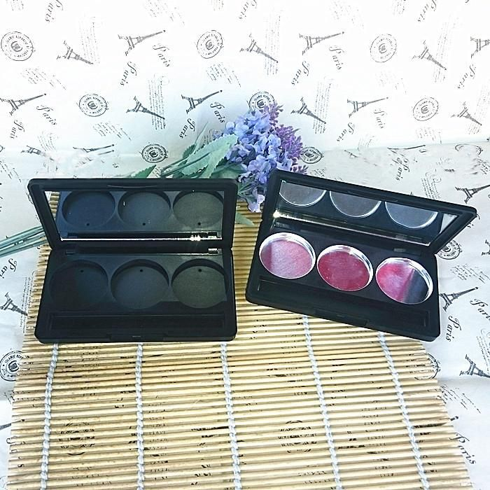 20pcs/lot Plastic Empty Eyeshadow Case 3 Grids Round Jar