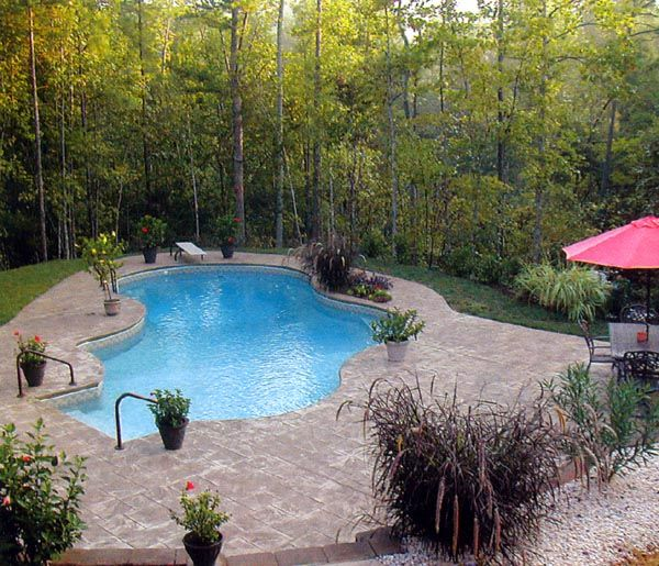 Wooded oasis | Swimming pool pictures, Swimming pool photos ... on ideas for sloped backyards, ideas for sloping backyards, ideas for muddy backyards,