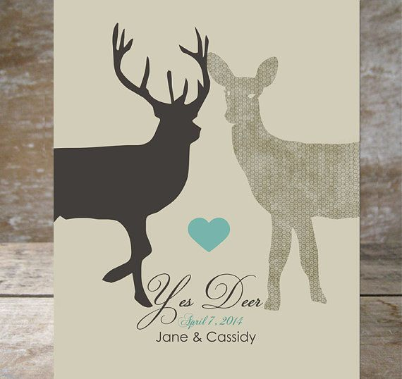 Yes Deer Woodland Stag Doe Antler S Wedding Date Heart Print