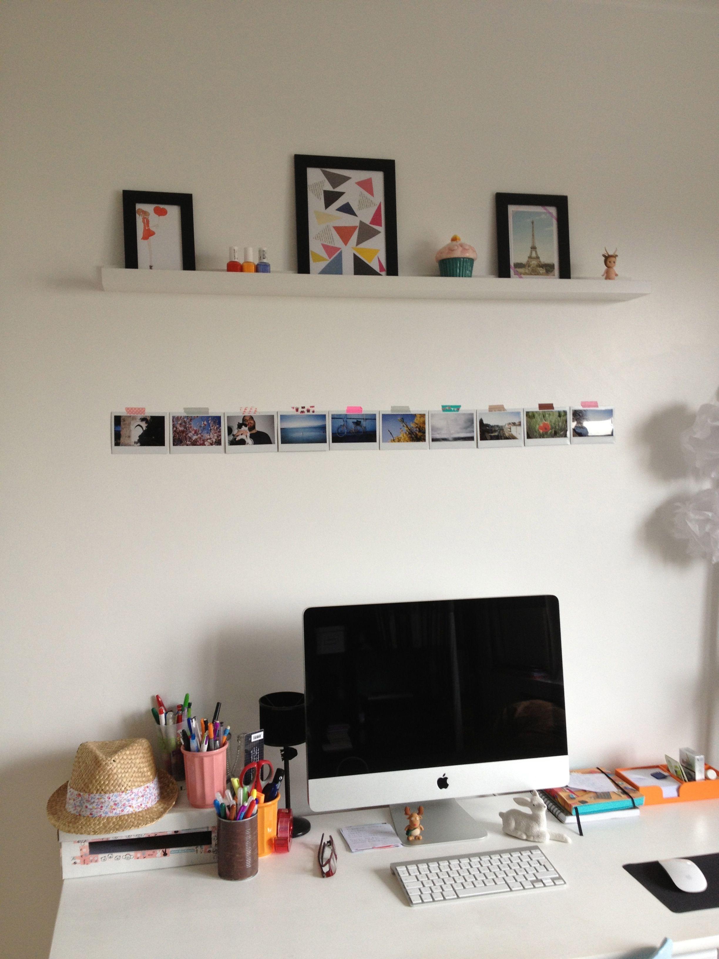 Bureau vintage id es d co pastel etag re cadres multiples sonny angel home inspo home - Idee deco bureau ...