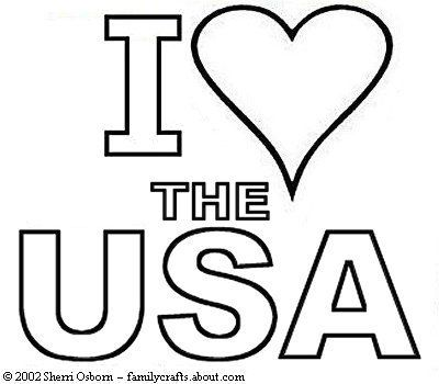 I Love the USA Coloring Book Page Free Print and Color Pages