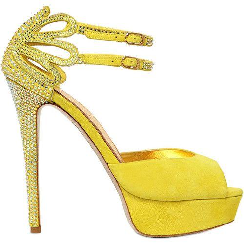 LE SILLA 120mm Swarovski Suede Sandals #jaune ~ Colette Le Mason @}-,-;---