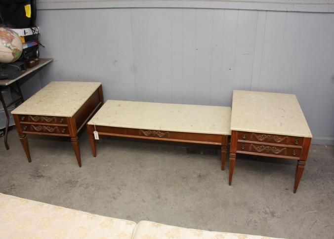 """French provincial style coffee table having marble top 52"""" x 20"""" x"""