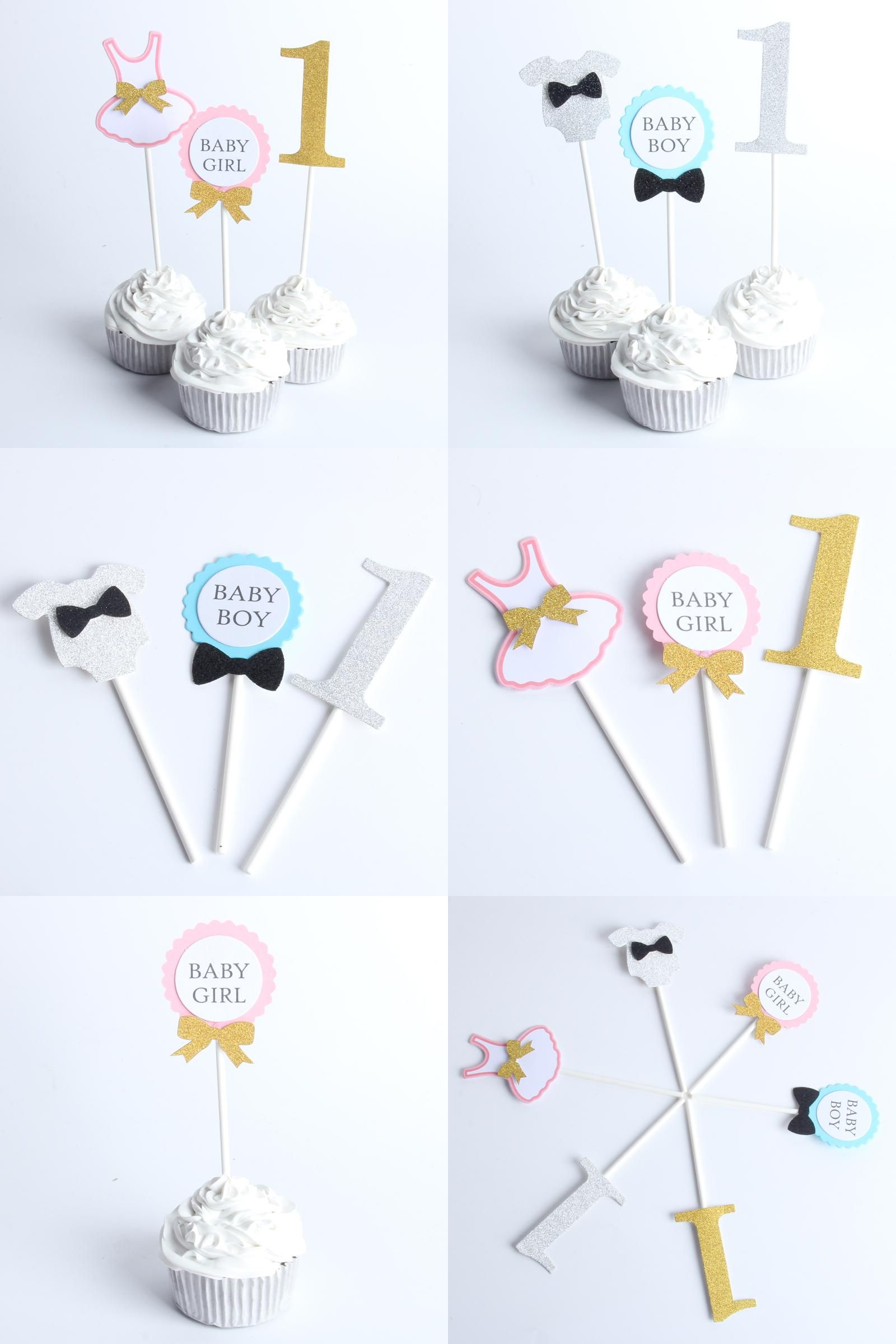 Visit to Buy] 1pack Baby Boy And Girl Cupcake Topper Theme Cartoon ...