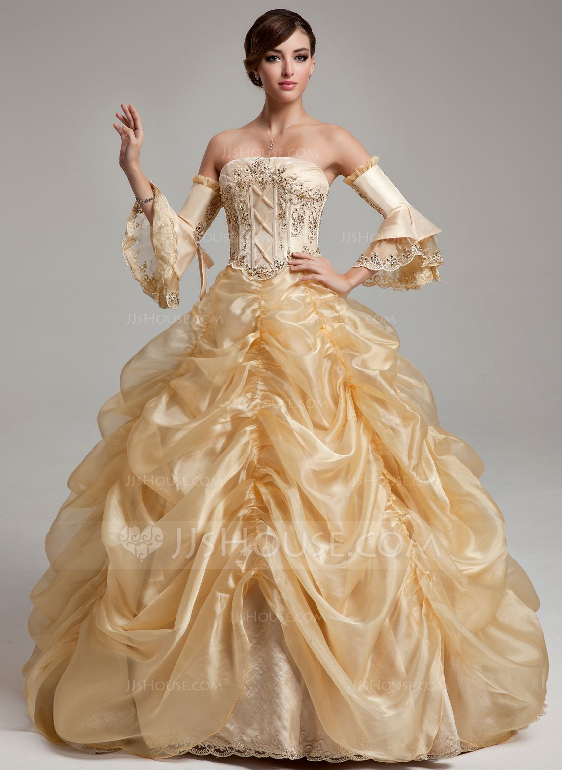 Ball-Gown Strapless Floor-Length Organza Quinceanera Dress With ...