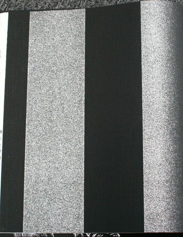 Silver Sparkly On Black Broad Stripes Glitter Silver Glitter Wallpaper Glitter Wallpaper Striped Wallpaper
