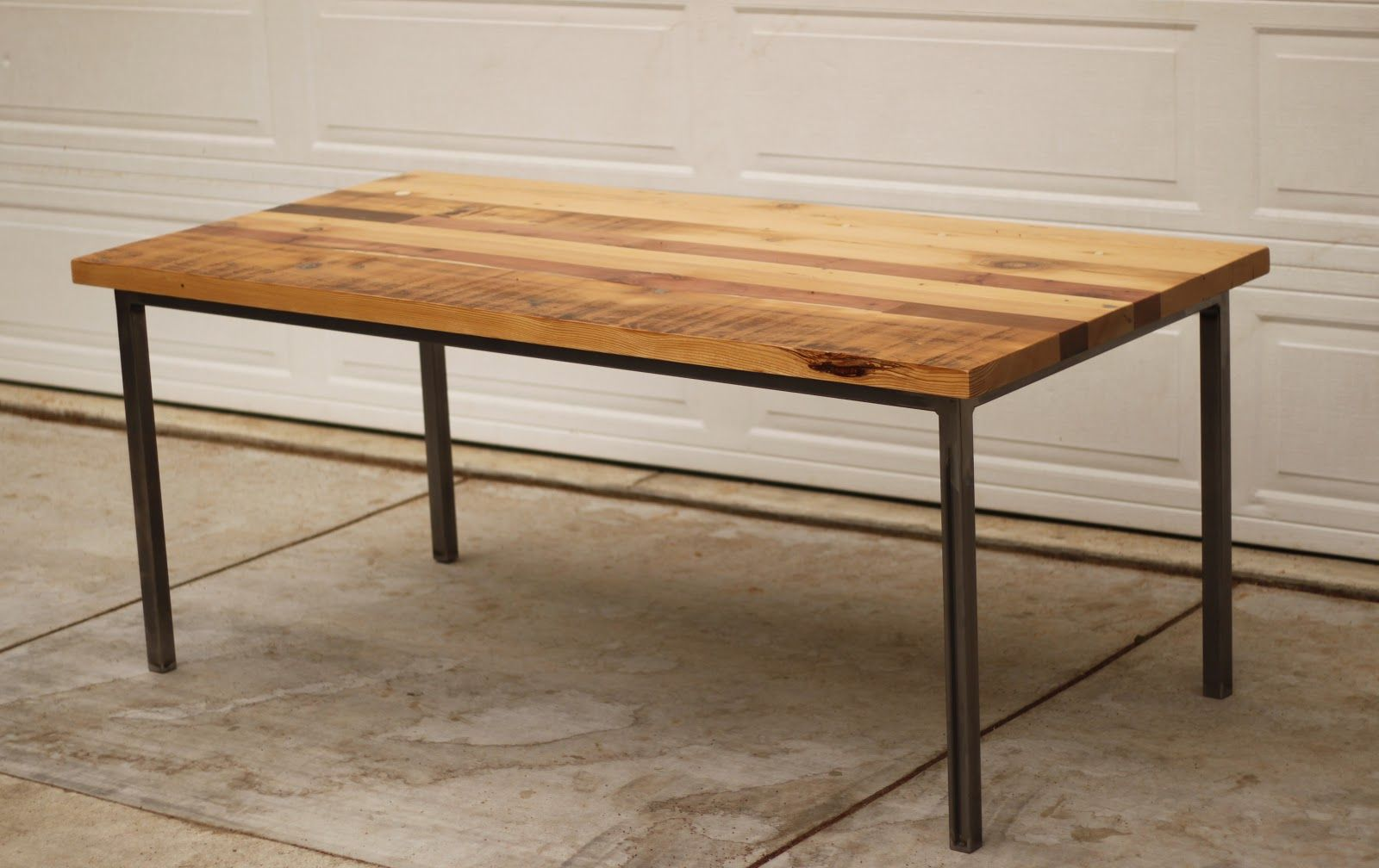 Dining Table With Metal Legs Rectangular Reclaimed Wood Of ...