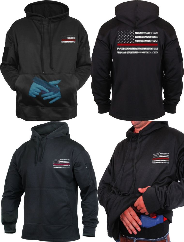 Black Thin Red Line US Flag Support Firefighters Concealed Carry Hoodie   Rothco  SweatshirtCrew ff6fe91732b