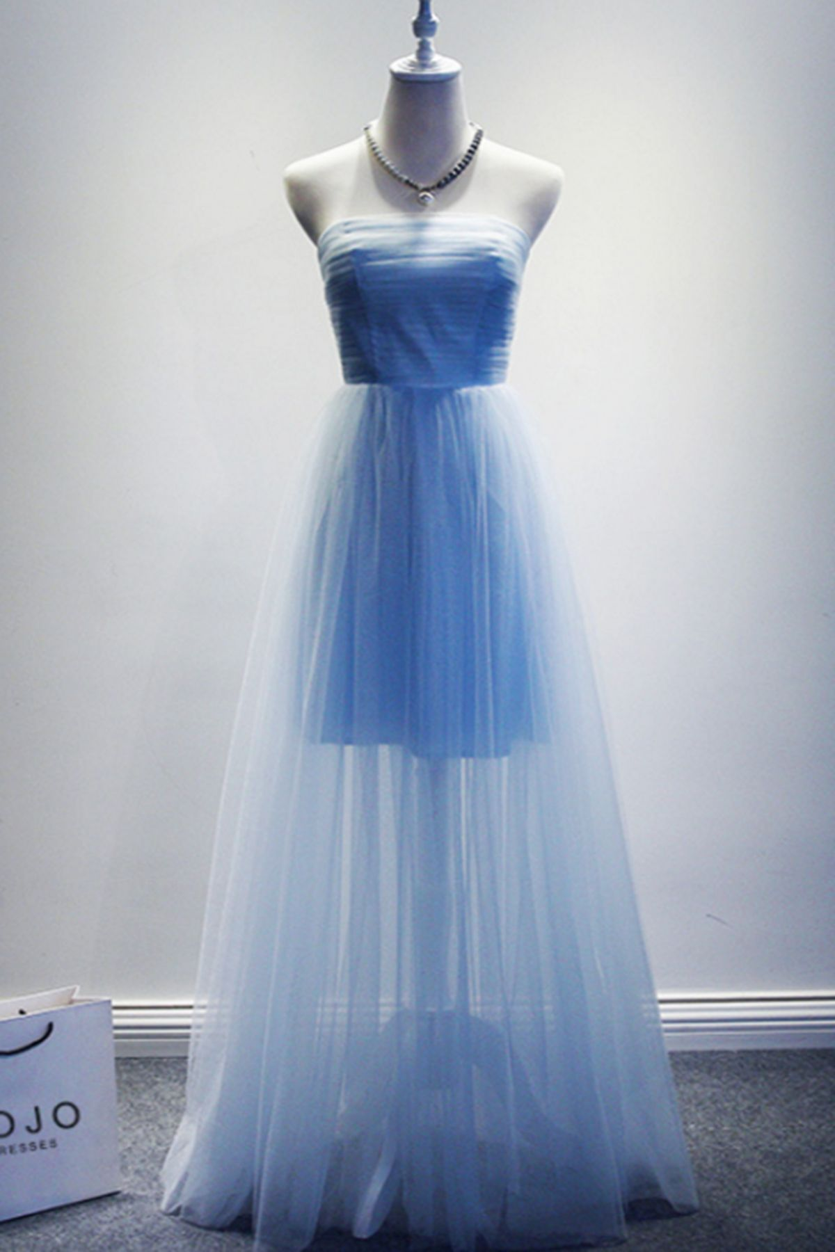 Cute blue tulle long formal dress for teens #promdress #dress #prom ...