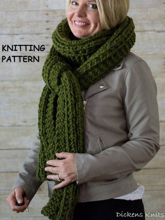 Pdf Knitting Pattern Extra Long Chunky Knit Scarf Cable Knit Scarf