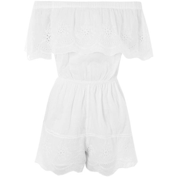 6ea92f844 Topshop Petite Broderie Bardot Playsuit ($50) ❤ liked on Polyvore featuring  jumpsuits, rompers, romper, white, cotton rompers, white romper, topshop  romper ...