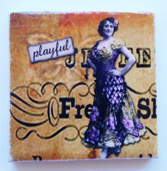 Sassy Lady Playful. 1 3/4 square Ceramic Refrigerator Magnet by LaughingAppleDesigns, $2.50