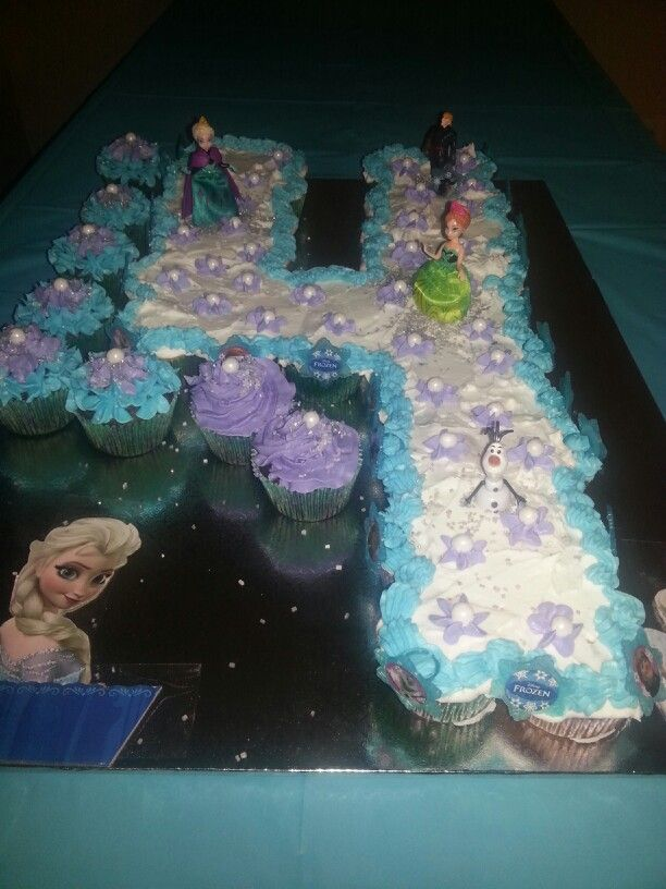 Frozen DYI Elsa Anna Olaf Number 4 Birthday Cake Made By Mu