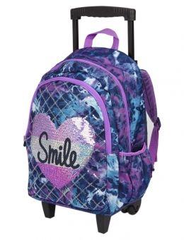 Dye Effect Smile Roller Backpack Girls Rolling Backpack Rolling