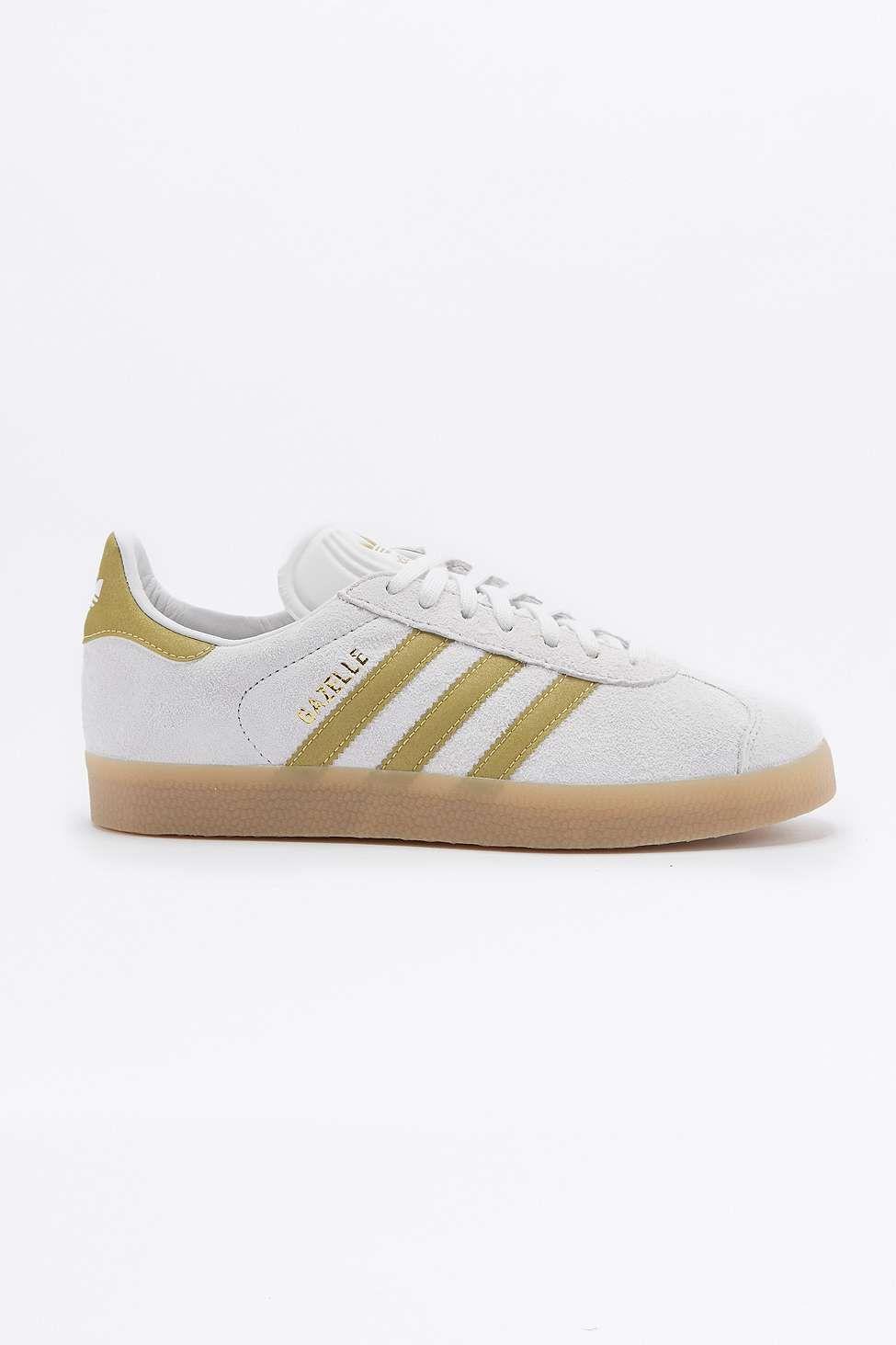 Adidas Originals - Baskets Gazelle blanches et dorées à semelle en  caoutchouc