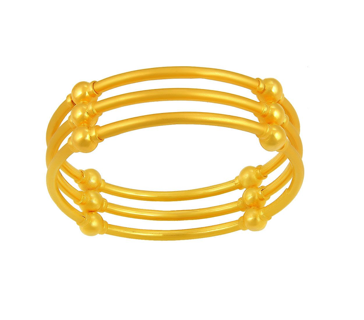 The charm of simple Gold Bangles blend with modern design to bring ...