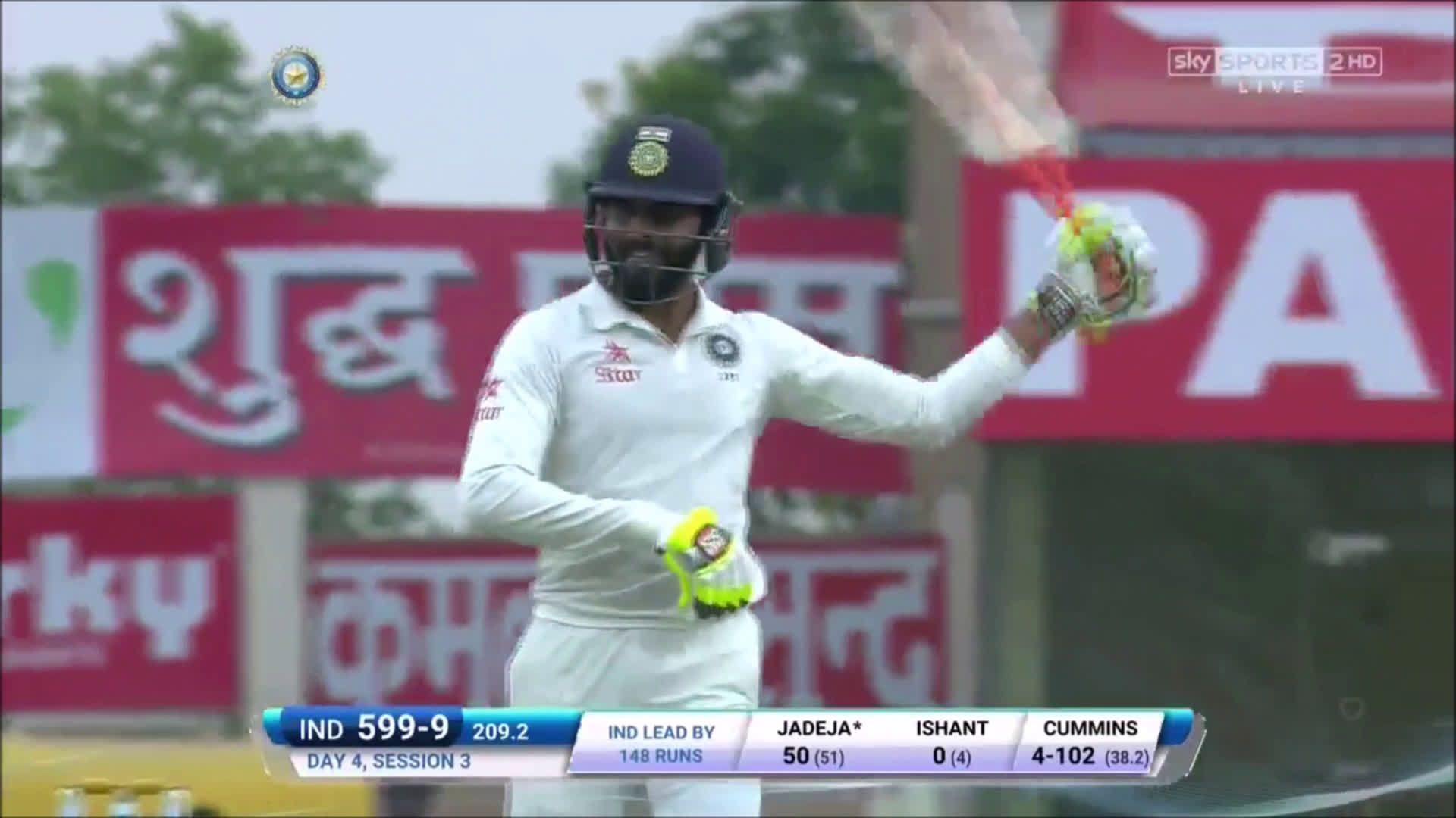 Ravindra Jadeja's swordsman celebration after scoring 50