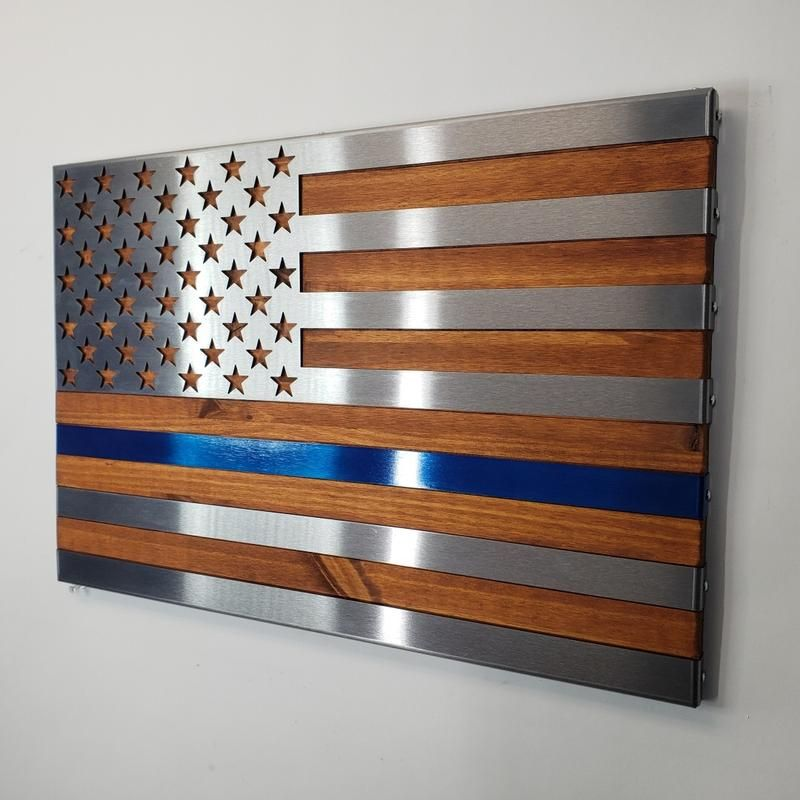 Red And Blue Hand Oiled Pine And Polished Steel Us Flag With Images Hand Oil Polished Steel Flag Wall Decor