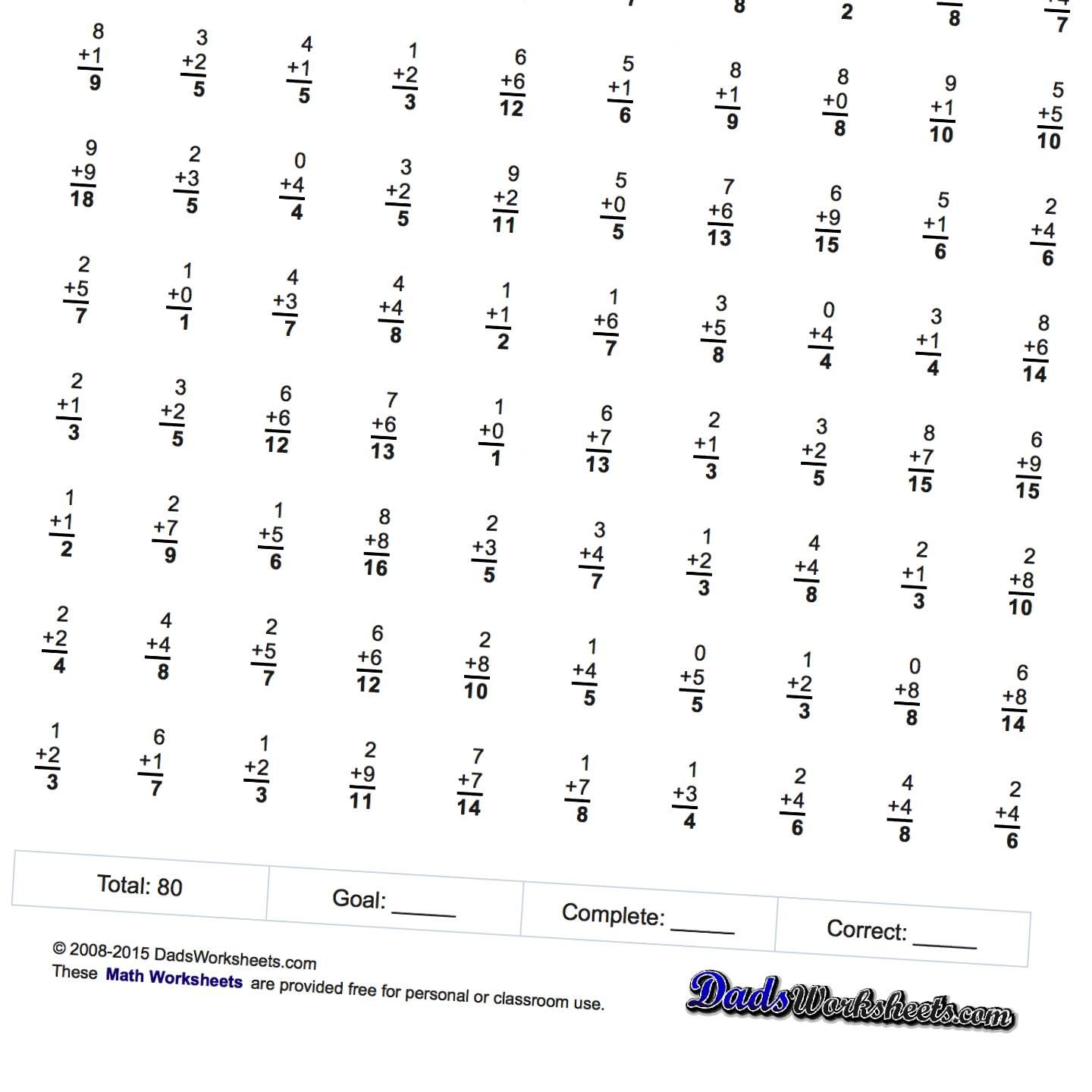 Math Worksheets: Two Minute Math Fact Addition Worksheets... These ...