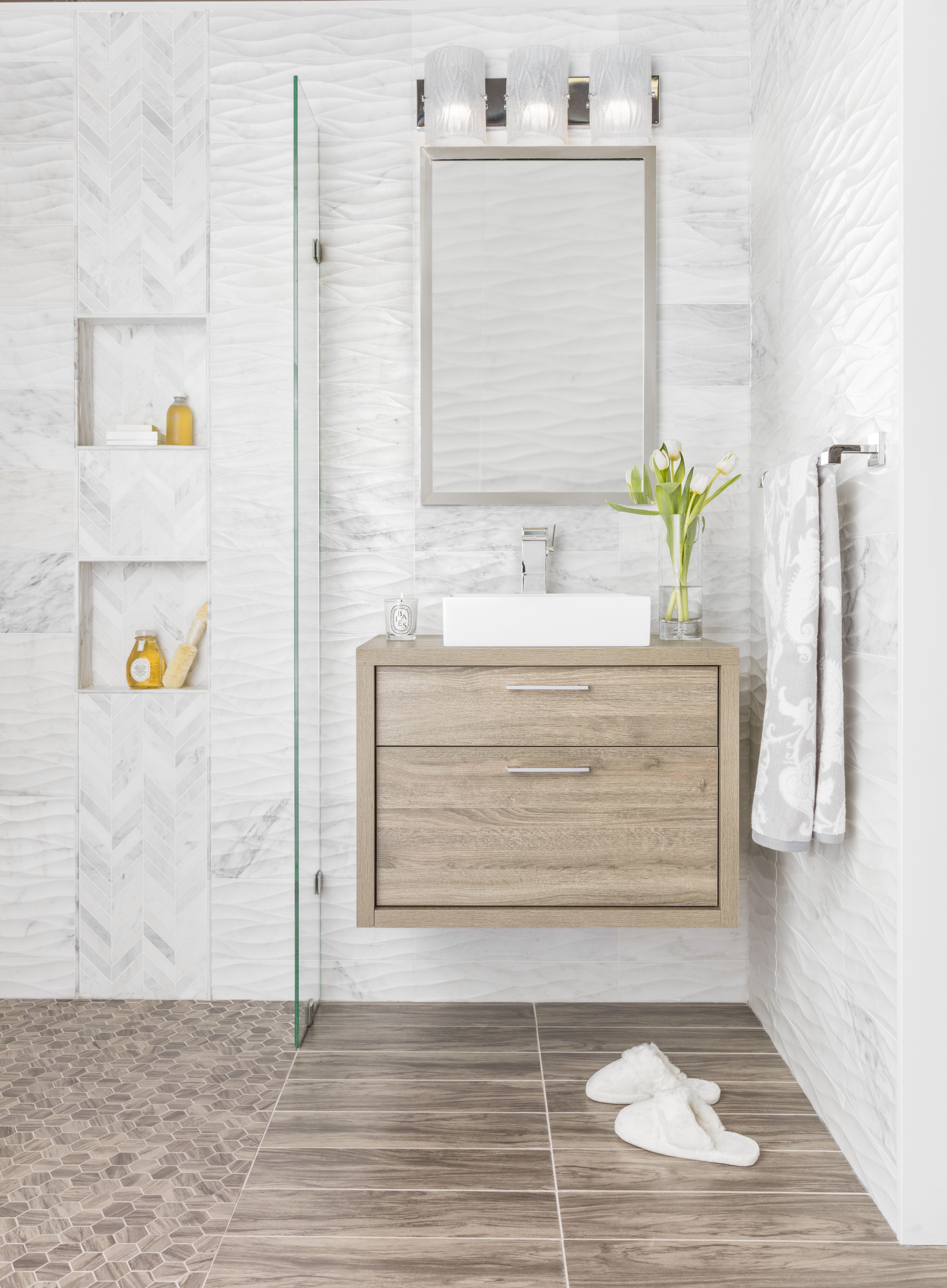 A Neutral Way To Incorporate Different Textures Sizes And Tones Into Your Space The White Carrara Marb Marble Wall Tiles Bathroom Floor Tiles Wood Look Tile