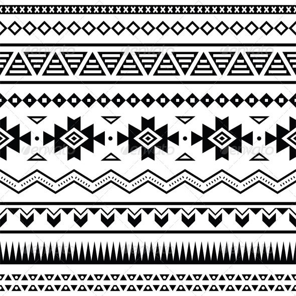 Vector seamless aztec ornament, ethnic pattern in black on