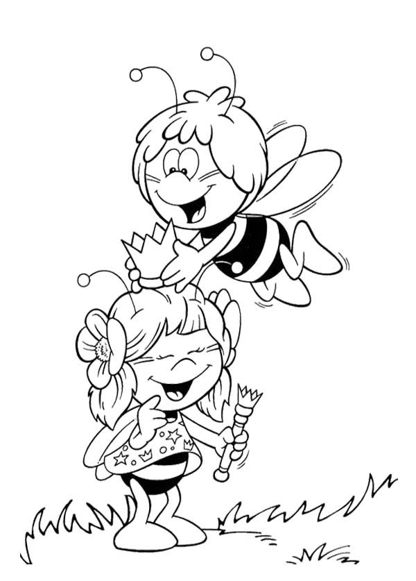 Maya The Bee Was Graced Her Friend Coloring Page | papīra darbi 11 ...