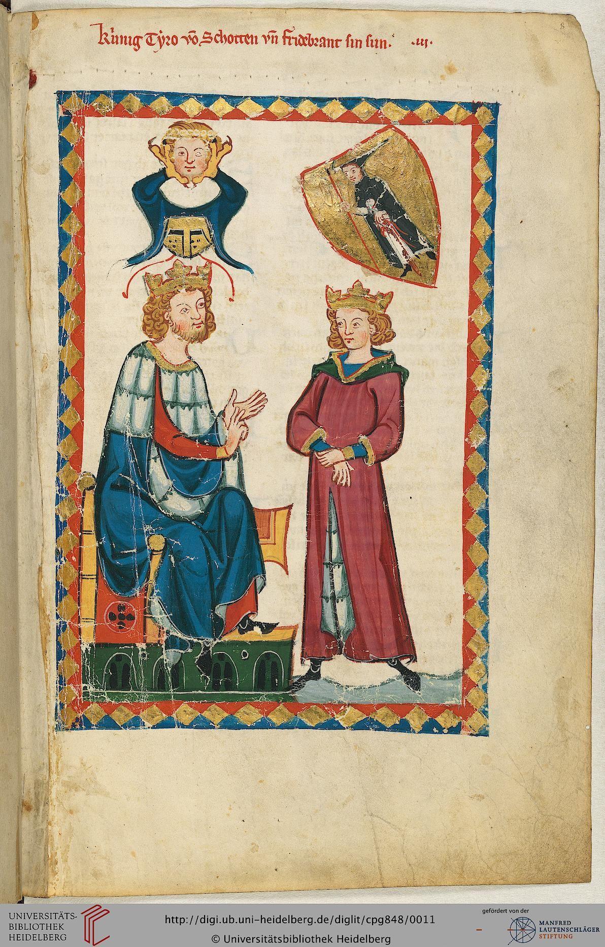 """""""König Tyro von Schotten"""" ist nicht der Name eines Sängers, sondern der Titel der anschließenden epischen Dichtung. Der vermutlich aus Thüringen stammende, unbekannte Autor verfaßte dieses Epos wohl zwischen 1220 und 1250: Friedebrant wird von seinem Vater, dem König Tyro, in den Pflichten eines Königs gegenüber seinen Untertanen und in standesgemäßem, ritterlich-höfischem Benehmen unterrichtet."""