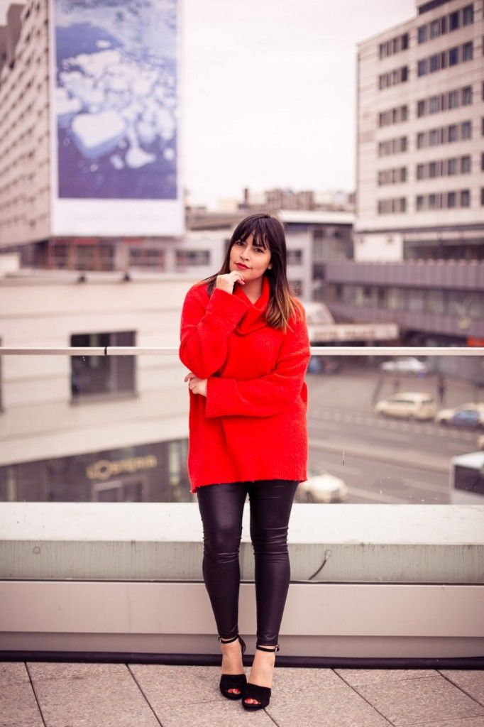 #red #pullover #oversized #oversize #blogger #fashionblogger_de #style #streetstyle #berlin #leather #leggins #pleather #zara #hm #turtleneck