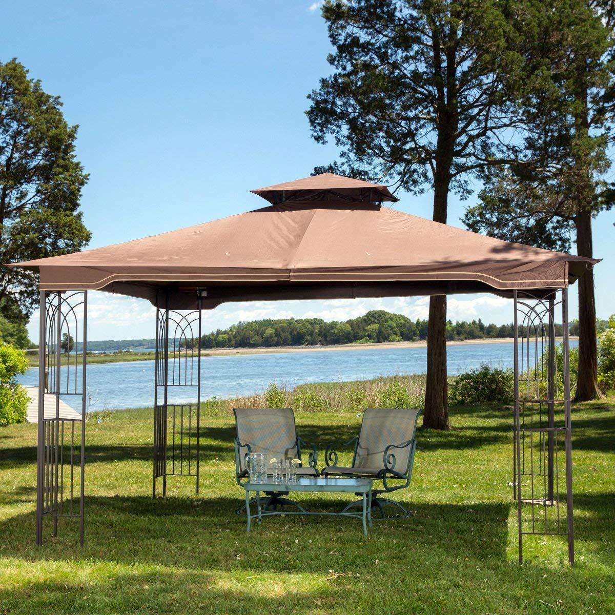Sunjoy L Gz798pst E Regency Ii Gazebo With Mosquito Netting Garden Gazebo Outdoor Gazebos Gazebo Canopy