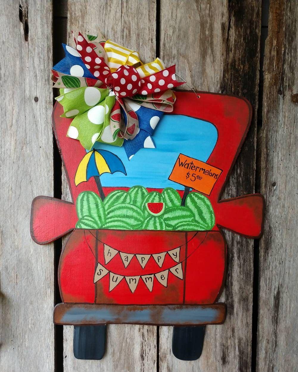 Truck Door Hanger Summer Door Hanger Watermelon Door Hanger Watermelon Truck Door Hanger